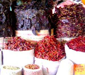 Dried Chiles in the Oaxaca Mkt